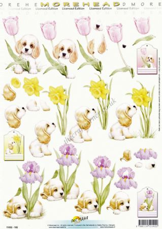 Morehead Spring Flowers & Puppies 3D Decoupage Craft Sheet